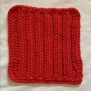 Other - Red Crocheted All Purpose 100% Cotton Cloth